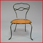 """Antique German Dollhouse Rock and Graner  Bent Wire Side Chair with Faux Cane Seat  1860s – 1880s Large 1"""" Scale"""