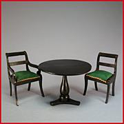 "Antique German Biedermeier Dollhouse Arm Chair, Side Chair & Table Mid Victorian Large 1"" Scale"