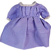 "Vintage pretty lilac doll dress for small doll dress 7"" long"