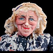 Bernard Ravca French stockinette cloth doll old woman 13 inch