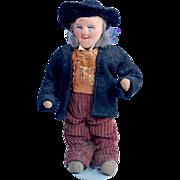 Petite French stockinette male doll Bernard Ravca 7 inch