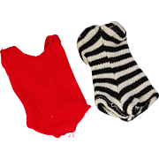 Vintage Barbie original swimsuits zebra black and white stripe and red helencia