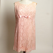 SALE Circa 1960s Made by Irene Pink Lace Shift Dress