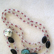 Unsigned Glass Crystal and Decorative Bead Necklace