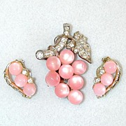Unsigned Pale Pink Glass Cabochon Dress Clip and Earrings