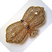 14K Filigree Yellow Gold, Diamond and Sapphire Brooch/Pin