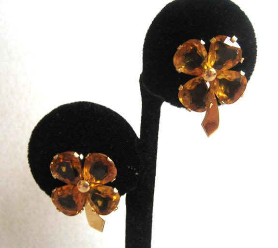 14K Yellow Gold Citrine Clover Screw back Earrings