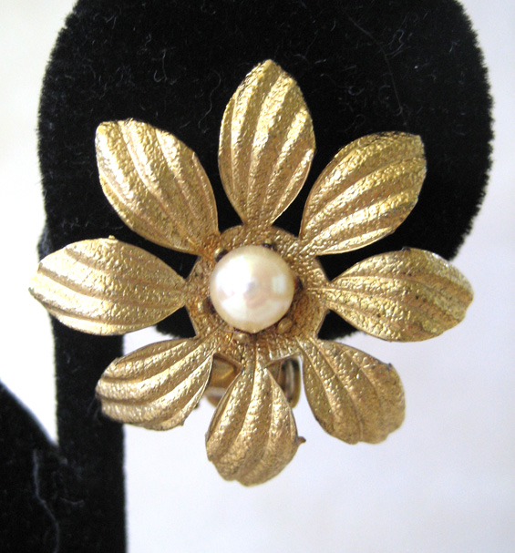 Gold-filled Cultured Pearl Floral Earrings