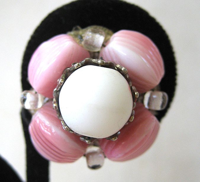 Hobe Pink Art Glass Earrings