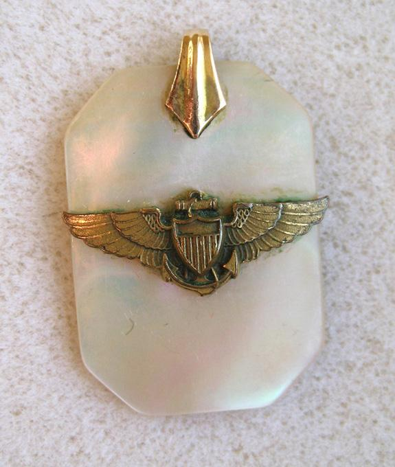 Unsigned US Navy Mother-Of-Pearl Set: Compact, Bracelet, Pendant