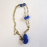 Art Deco 14K Yellow Gold Blue Chalcedony Necklace