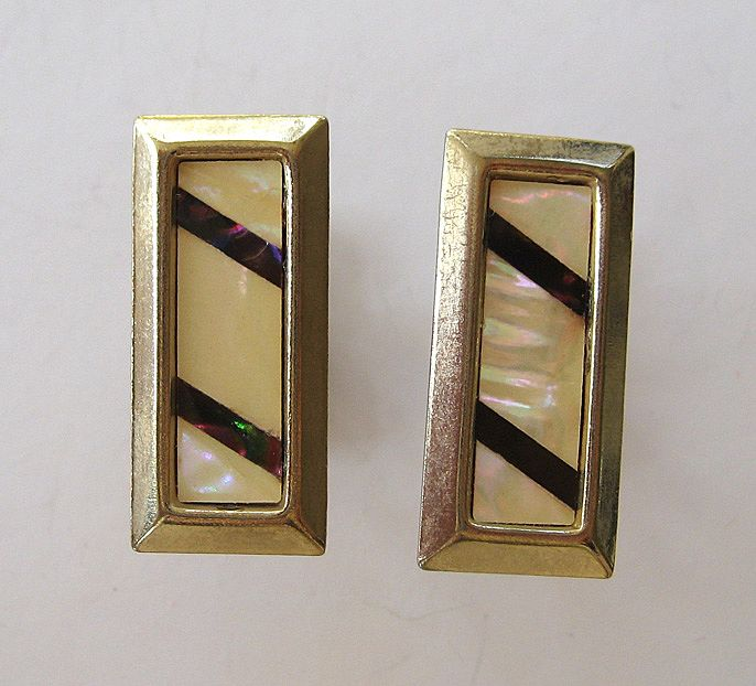 Mother-Of-Pearl Rectangular Gold Tone Cufflinks