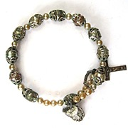 Japanese Made Religious Faux Pearl Stretch Bracelet
