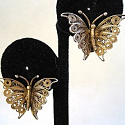 Gilt 800 Silver Filigree Butterfly Earrings
