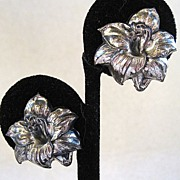 Sterling Silver Hibiscus Earrings