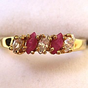 Gold-Tone Ruby and Clear Glass Stone Ring