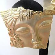JJ Gold Tone Asian Face Earrings