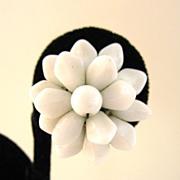 White Glass Floral Screw Back Earrings
