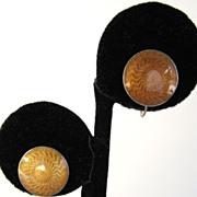 Sterling Gold Guilloche Enamel Disc Earrings