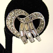 Trifari Rhinestone Twisted Earrings