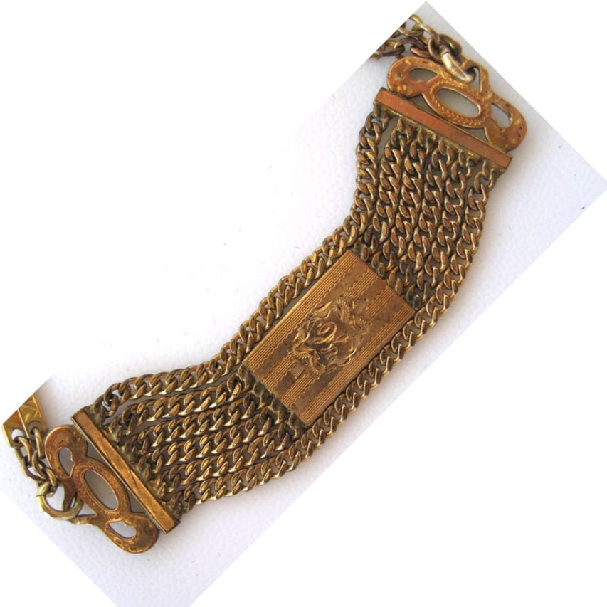 Victorian Gold-Filled Engraved Chain Bracelet
