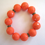 Large Orange Plastic Bead and Rhinestone Stretch Bracelet
