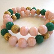 Faux Coral and Faux Jade Wired Bead Gold-Tone Bracelet