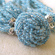 Japanese-Made Blue Seed Bead Twisted Choker/Necklace