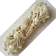 Victorian 14K Seed Pearl Floral Bar Pin