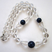 Art Deco Rock Crystal, Dyed Jasper and Glass Bead Necklace