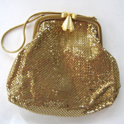 Whiting and Davis Gold-tone Mesh Handbag with Rhinestone Bow Clasp