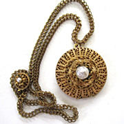 Miriam Haskell Gold-Tone Faux Baroque Pearl Round Locket