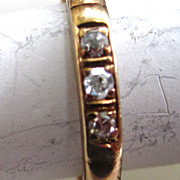 14K Yellow Gold Three Diamond Band