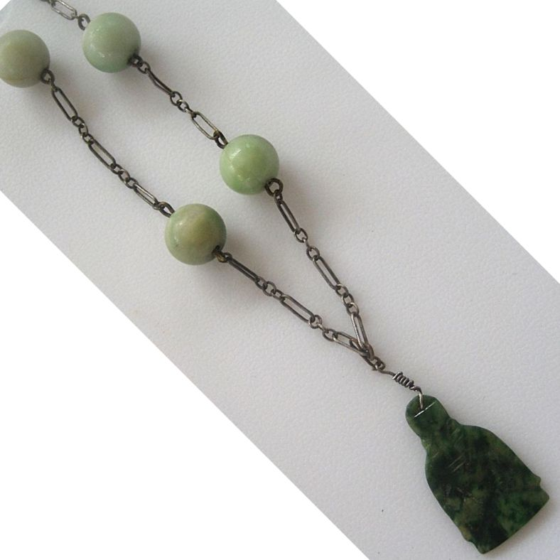 Art Deco Jade Buddha Necklace with 14K Clasp