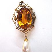 Filigree Glass Gold Rhinestone with Faux Pearl Drop Pendant