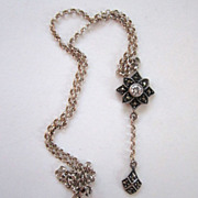 Sterling Silver Glass Stone Marcasite Drop Floral Pendant