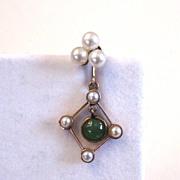 10K Rose Gold Jade and Cultured Pearl Earrings