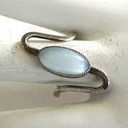 Beau Sterling Blue Frosted Glass Ring