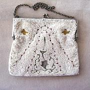 1920s European Embroidered Beaded Tambor Purse/Handbag