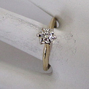 SALE 14K White and Yellow Gold Diamond Ring