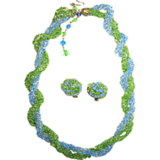 Japanese-Made Blue and Green Seed Bead Demi-Parure: Necklace/Earrings