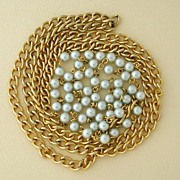 Unsigned Goldtone and Faux Pearl Chain
