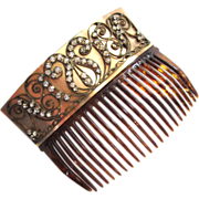 Large Faux Tortoise-shell Curved Rhinestone Hair Comb