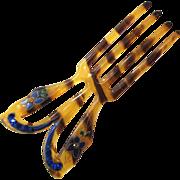 Art Deco Faux Tortoise Shell Enamel and Rhinestone Hair Comb/Fork
