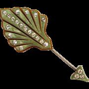 Pale Green Celluloid Rhinestone Hat Pin/Stick pin