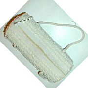 La Regale Barrel-Shaped Shag Bead and Sequined Cream Purse