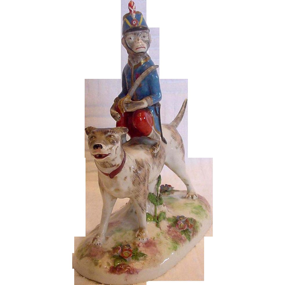 French Old Paris Vincent Dubois La Courtille Figurine Dog w Circus Monkey Applied Flowers c 1774 - 1787