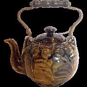 American Yellow Ware Pottery Teapot w Molded Sea Shells Blue Glaze c 1880