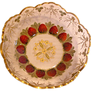French Glass Bowl Reverse Painted Red Strawberries c 1900
