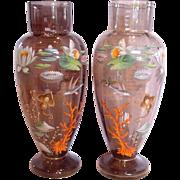 "Bohemian Moser Pair Large 15 ½"" Vases w Enameled Aquatic Sea Life Fish Flowers c 1890 – 1905"